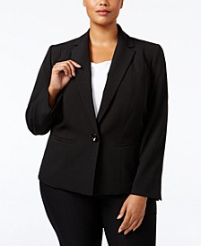 Plus Size Crepe One-Button Blazer