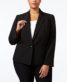 Plus Size Crepe One-Button Blazer