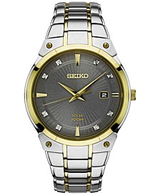 Men's Solar Diamond Accent Two-Tone Stainless Steel Bracelet Watch 41mm SNE430