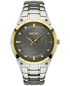 Seiko Men's Solar Diamond Accent Two-Tone Stainless Steel Bracelet Watch 41mm SNE430