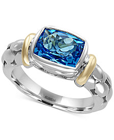 EFFY® Ocean Bleu Blue Topaz Ring in Sterling Silver and 18k Gold