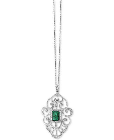 Brasilica by EFFY® Emerald (1-3/8 ct. t.w.) and Diamond (1/3 ct. t.w.) Pendant Necklace in 14k White Gold, Created for Macy's