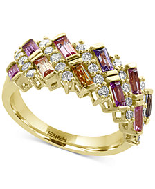 EFFY® Watercolors Multi-Sapphire (1-3/8 ct. t.w.) and Diamond (1/2 ct. t.w.) Ring in 14k Gold, Created for Macy's