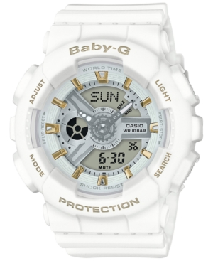 Baby-g Women's Analog-Digital White Resin Strap Watch 43x46mm BA110GA-7A1