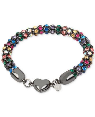Betsey Johnson Hematite-Tone Multi-Crystal Heart Bracelet