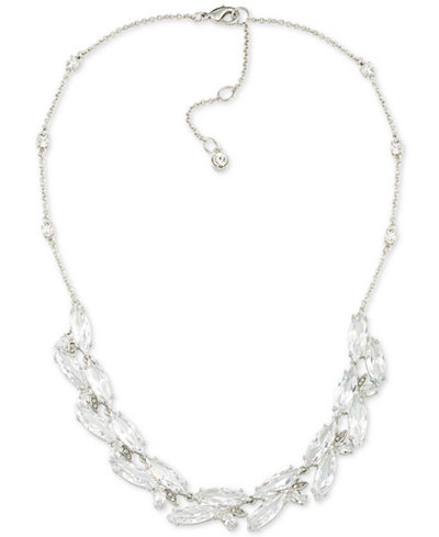 Carolee Silver-Tone Marquise Crystal Collar Necklace