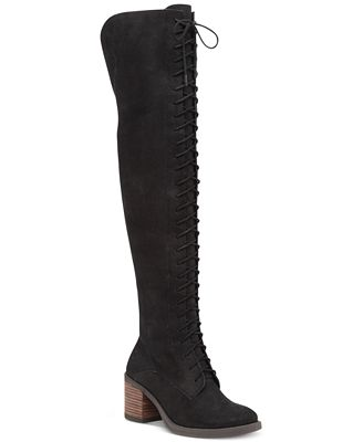 Lucky Brand Women's Riddick Lace-Up Over-The-Knee Boots - Boots ...