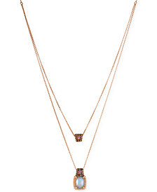 Le Vian® Chocolatier Opal (1-5/8 ct. t.w.), Diamond (3/8 ct. t.w.) and Pink Sapphire Accent Layer Pendant Necklace in 14k Rose Gold