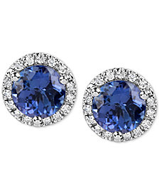 Tanzanite (1-3/4 ct. t.w.) and Diamond (1/6 Ct. t.w.) Stud Earrings in 14k White Gold
