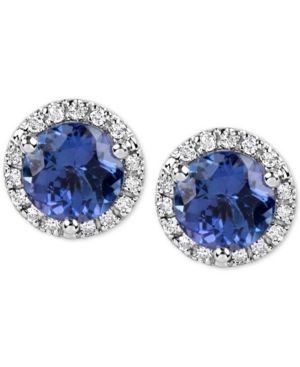Click here for Tanzanite (1-3/4 ct. t.w.) and Diamond (1/6 Ct. t.w.) Stud Earrings in 14k White Gold prices