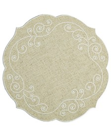 "French Perle 16"" Round Embroidered Placemat"