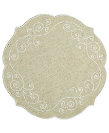 "Lenox French Perle 16"" Round Embroidered Placemat"