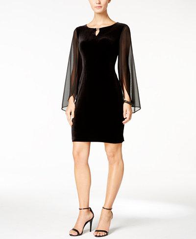 Connected Illusion-Sleeve Velvet Dress