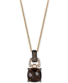 Le Vian Chocolatier® Chocolate Quartz® (1-3/4 ct. t.w.) and Diamond (1/10 ct. t.w.) Pendant Necklace in 14k Gold