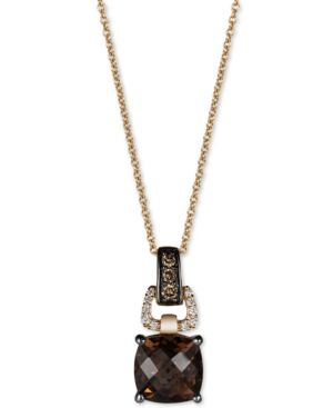 Le Vian Chocolatier Chocolate Quartz (1-3/4 ct. t.w.) and Diamond (1/10 ct. t.w.) Pendant Necklace in 14k Gold -  ADULT