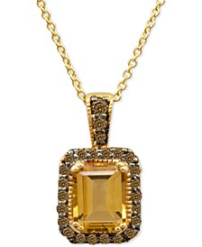 Chocolatier® Cinnamon Citrine® (1-1/3 ct. t.w.) and Diamond Pendant Necklace (1/4 ct. t.w.) in 14k Gold