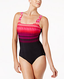 Reebok Trailblazer Tribal-Stripe Active One-Piece Swimsuit