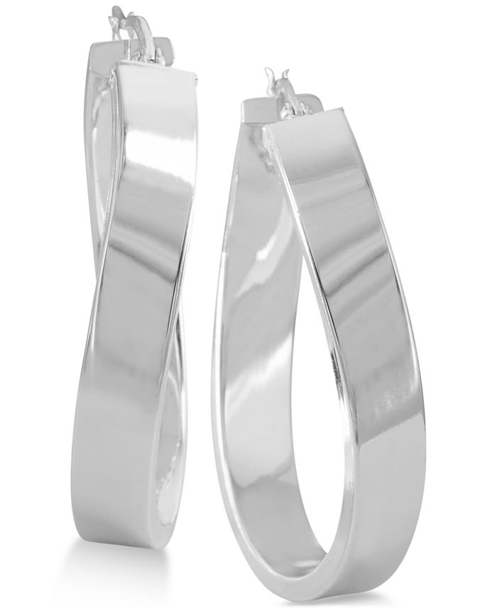 Macy's - Twisted Oval Hoop Earrings in Sterling Silver