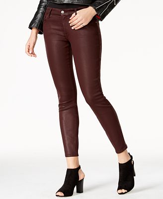 7 for All Mankind Plum Coated Skinny Jeans - Jeans - Women - Macy's