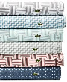 CLOSEOUT! Lacoste Home Printed 4-pc Sheet Sets, 100% Cotton Percale