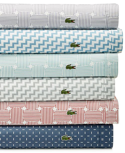 Lacoste Home CLOSEOUT! Printed 4-pc Sheet Sets, 100% Cotton Percale