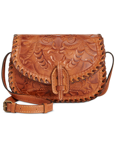 Patricia Nash Burnished Tooled Nardini Saddle Bag