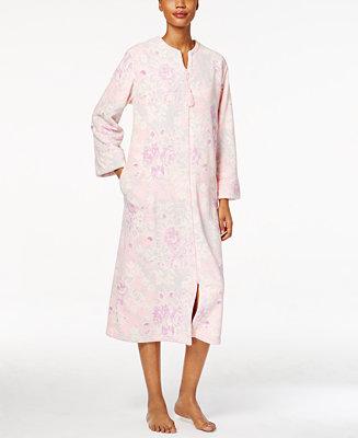 Miss elaine petite plush front zipper robe lingerie for Robes de mariage petite macy