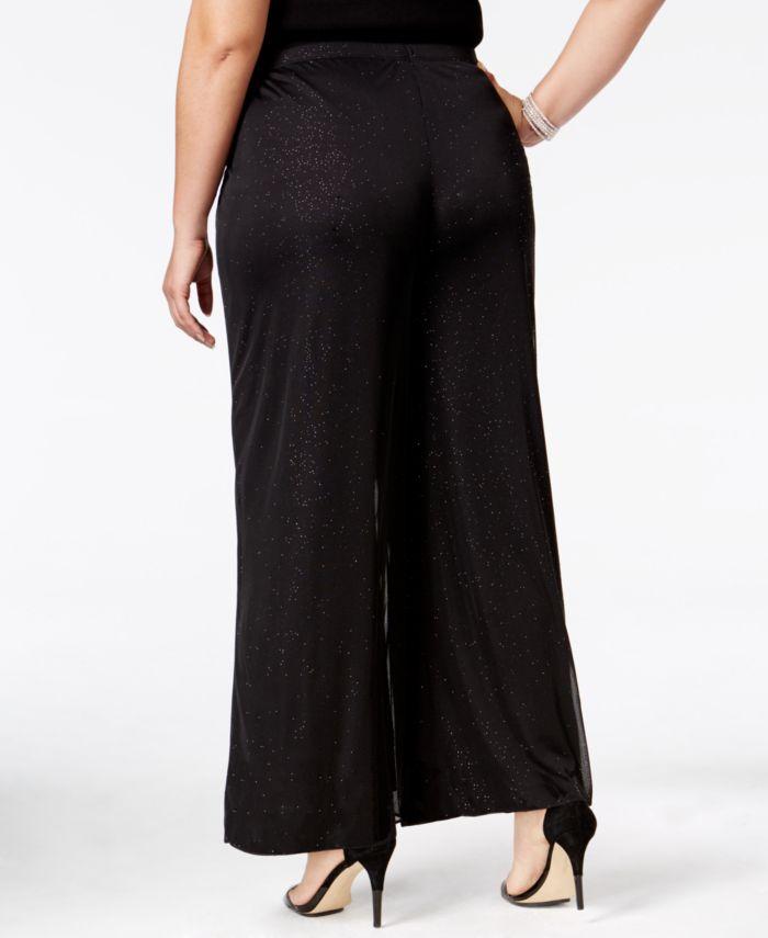 MSK Plus Size Mesh Sparkle Palazzo Pants & Reviews - Pants & Leggings - Women - Macy's
