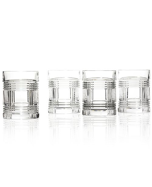 Lauren Ralph Lauren Set of 4 Glen Plaid Double Old Fashioned Glasses