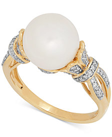 Honora Style Freshwater Pearl (10mm) and Diamond (1/5 ct. t.w.) Ring in 14k Gold