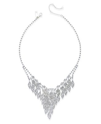 INC International Concepts Silver-Tone Rhinestone Leaf Bib Necklace, Only at Macy's