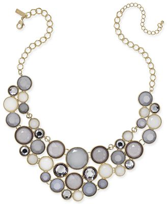 INC International Concepts Gold-Tone Gray Stone Bib Necklace, Only at Macy's
