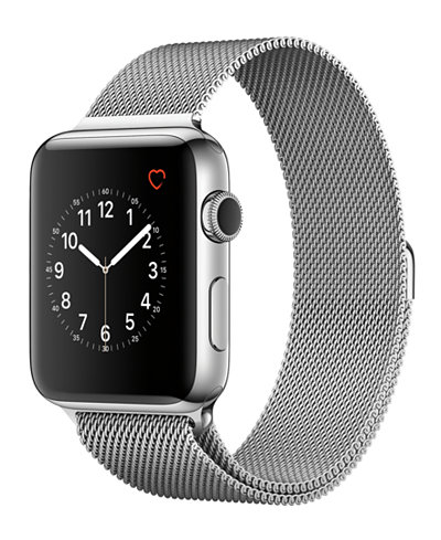 Apple Watch Series 2 42mm Stainless Steel Case with Silver-Tone Milanese Loop