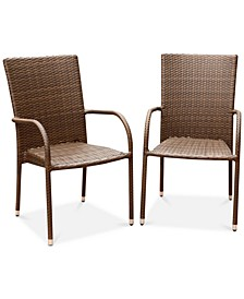 Heather Outdoor Wicker Set of 2 Dining Armchairs, Quick Ship