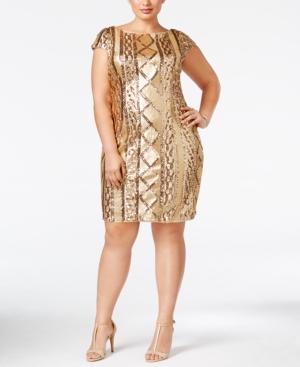 1920s Plus Size Dresses Adrianna Papell Plus Size Sequined Sheath Dress $199.00 AT vintagedancer.com