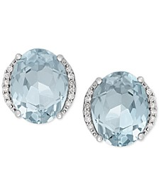 Aquamarine (3 ct. t.w.) and Diamond Accent Stud Earrings in 14k White Gold