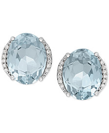 Aquamarine 3 Ct T W And Diamond Accent Stud Earrings In 14k White Gold