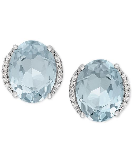 Macy's Aquamarine (3 ct. t.w.) and Diamond Accent Stud Earrings in 14k White Gold