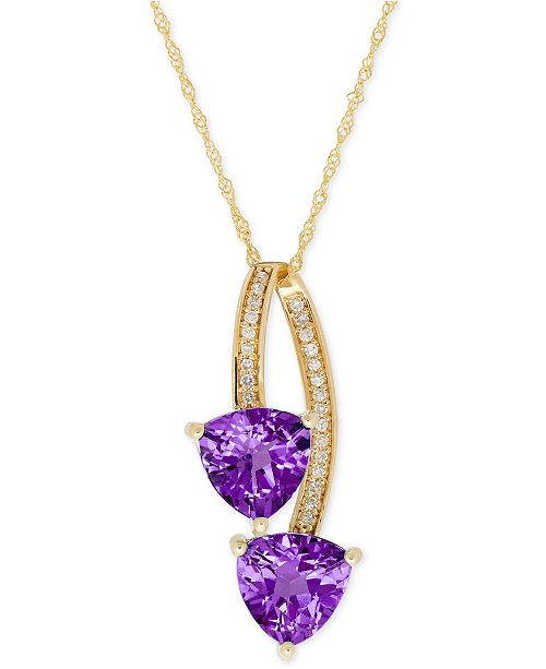Macy's Amethyst (2-1/10 ct. t.w.) and Diamond Accent Drop Pendant Necklace in 14k Gold