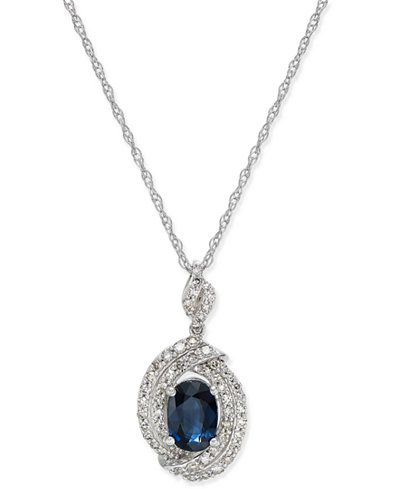 Sapphire (1 ct. t.w.) and Diamond (3/8 ct. t.w.) Oval Pendant Necklace in 14k White Gold