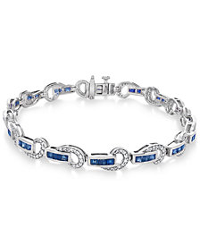 Sapphire (3 ct. t.w.) and Diamond (5/8 ct. t.w.) Swirl Link Bracelet in 14k White Gold