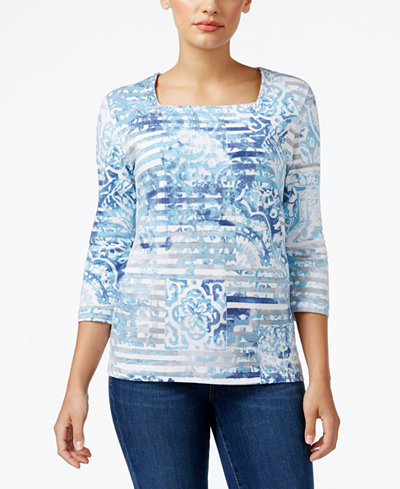 Alfred dunner petite northern lights printed top tops for Alfred dunner wedding dresses