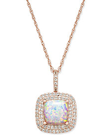 "Lab-Created Opal (1-3/8 ct. t.w.) and White Sapphire (1/3 ct. t.w.) 18"" Pendant Necklace in 14k Rose Gold-Plated Sterling Silver"