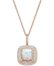 """Lab-Created Opal (1-3/8 ct. t.w.) and White Sapphire (1/3 ct. t.w.) 18"""" Pendant Necklace in 14k Rose Gold-Plated Sterling Silver"""