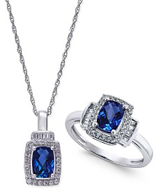 Lab-Created Blue Sapphire (2 ct. t.w.) and White Sapphire (5/8 ct. t.w.) Pendant Necklace and Matching Ring Set in Sterling Silver