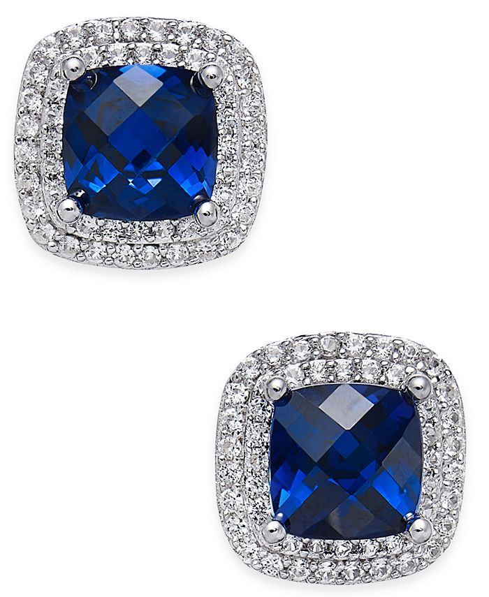 Macy's - Lab-Created Sapphire (2-1/6 ct. t.w.) and White Sapphire (1/3 ct. t.w.) Square Stud Earrings in Sterling Silver