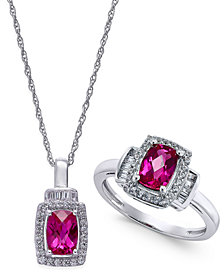 Lab-Created Ruby (2 ct. t.w.) and White Sapphire (5/8 ct. t.w.) Pendant Necklace and Matching Ring Set in Sterling Silver