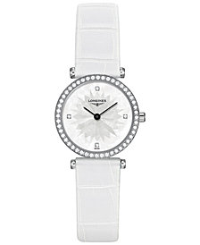 Longines Women's Swiss La Grande Classique de Longines Diamond (3/8 ct. t.w.) White Leather Strap Watch 24mm L42410252