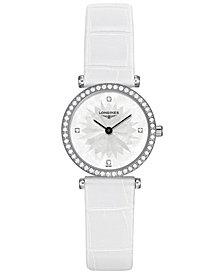 Longines Women's Swiss La Grande Classique de Longines Diamond (3/8 ct. t.w.) White Leather Strap Watch 24mm L42410252