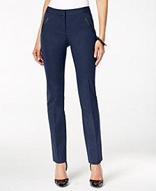 Alfani Faux-Leather-Trim Slim-Leg Pants, Created for Macy's